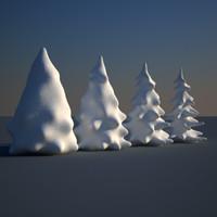 snowy fir trees snow dxf