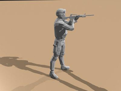 3d model swat m4 rifle