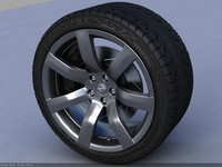 3d nissan gt-r wheel tire treads model
