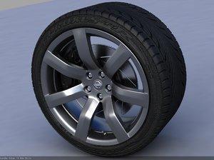 3d nissan gt-r wheel tire treads model