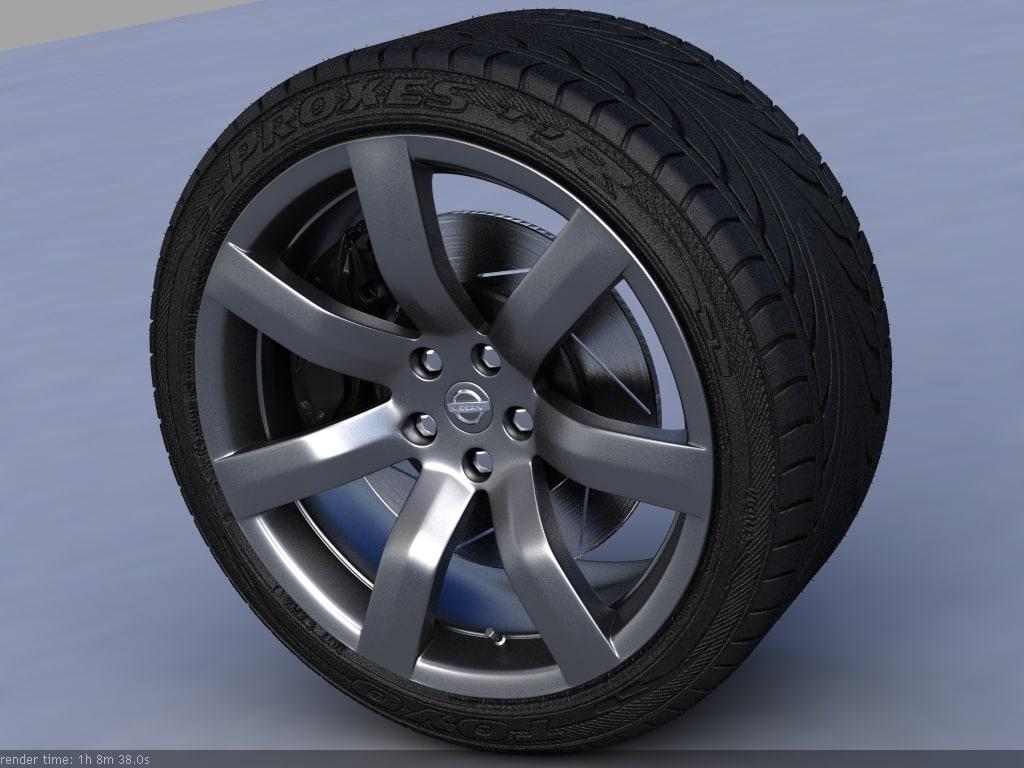 3d Nissan Gt R Wheel Tire Treads Model Rims