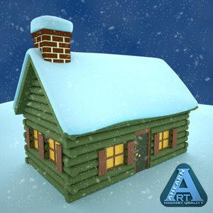 3d cabin snow