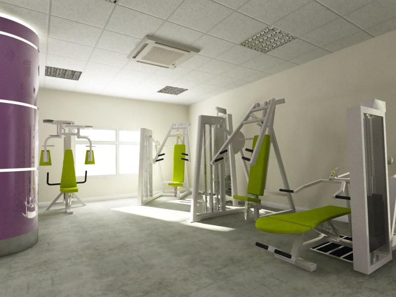 gym 02 equipment 3d x
