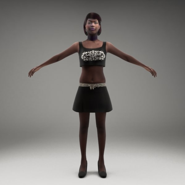3d model axyz 2 rigged characters