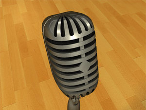 3d model microphone chrome