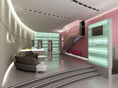 3d model reception staircase