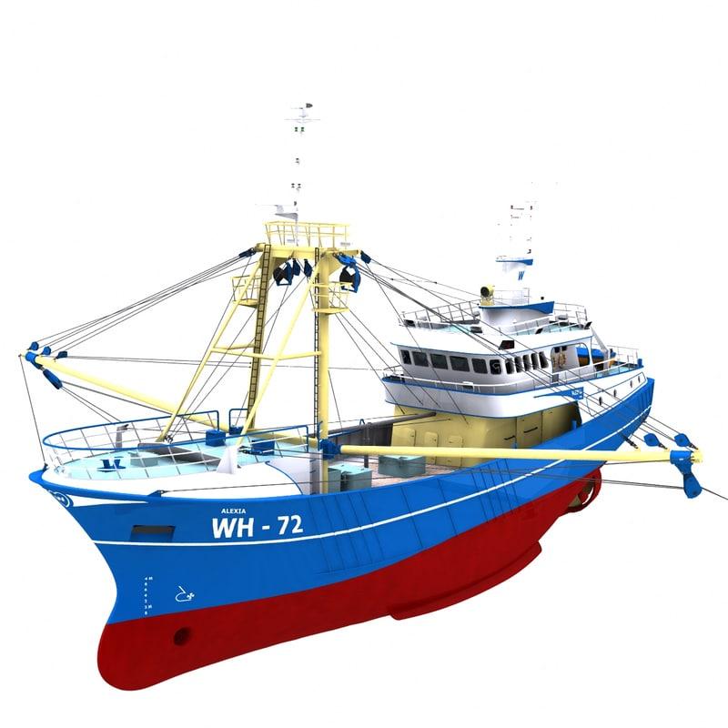 trawler trawling 3d model