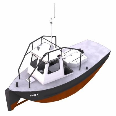 push tug boat harbour 3d model