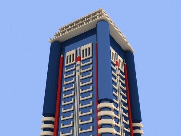 3d dubai skyscrap 2 buildings