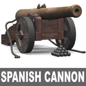 spanish cannon galleons 3d model