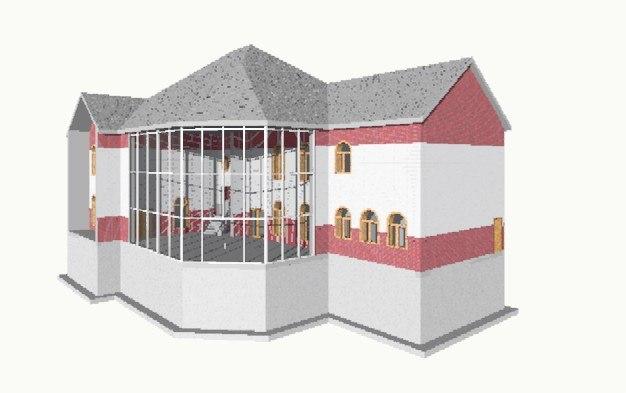 3 unit building 3d model