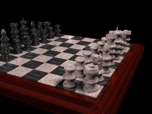 realistic marble chess set 3d model