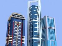 3d model 3 skyscrapers dubai buildings