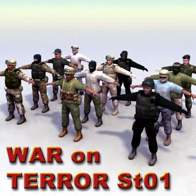 3d 12 war terror military model