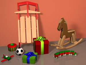 3d presents toy plane gifts
