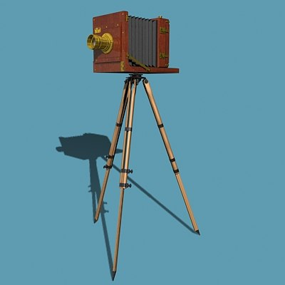 old fashioned tailboard camera tripod 3d 3ds