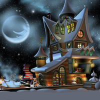 santa crib toon christmas 3d model