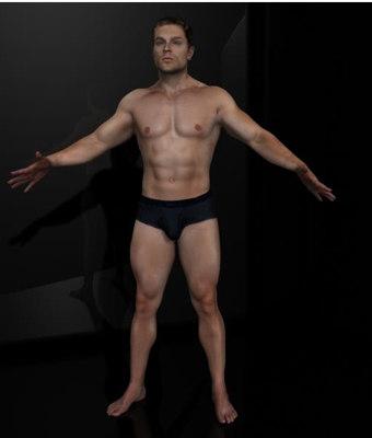 3d harry realistic male body scan model