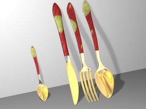c4d cutlery fork measurer