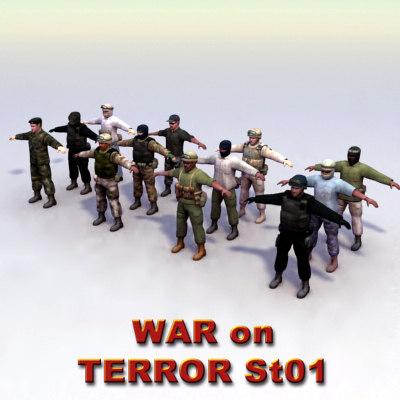 3d model of 12 military soldier combat