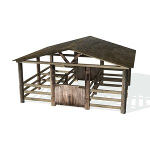 3d historical animal pen farms model
