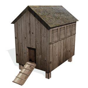 historical chicken coop building 3d model