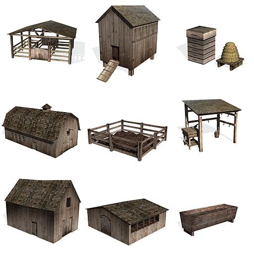 historical farm buildings barn 3ds