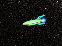 3d green space ship comical
