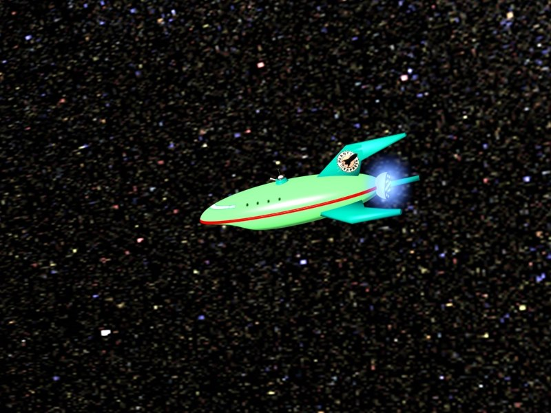 3d green space ship comical