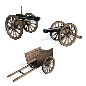 3d historical cart cannon gatling gun