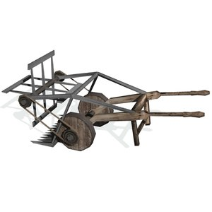 3d model historical reaping machine harvesting