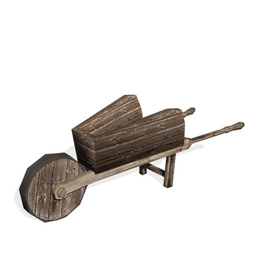historical wheel barrow 3d model
