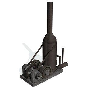 3d model historical steam boiler engine
