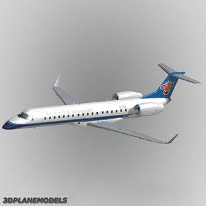 3d embraer erj-145 regional jet model