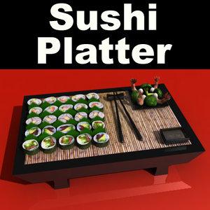 3d sushi platter