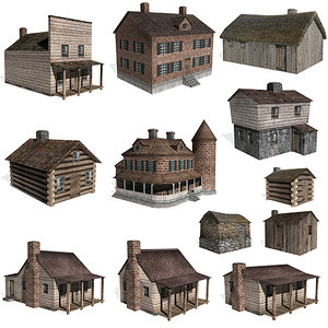 3ds max historical houses buildings farms