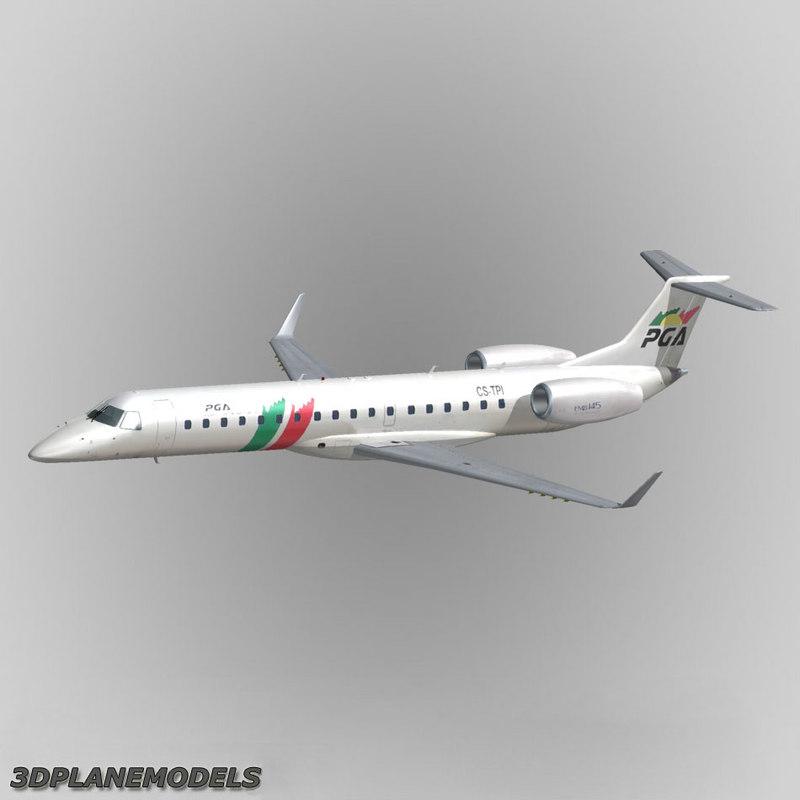 embraer erj-145 regional jet 3d model