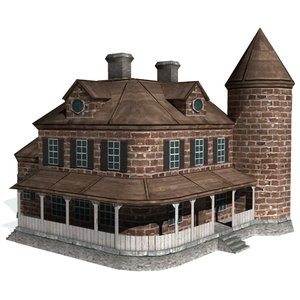 3d model of historical victorian manor house