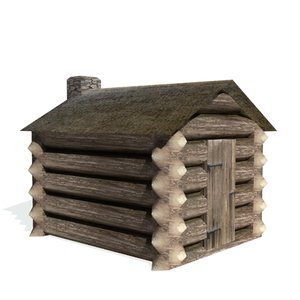 historical log hut buildings 3d model