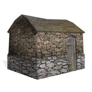 3d historical hut buildings model