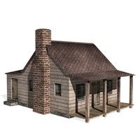 3d historical saltbox house farms model