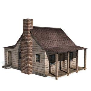 3d historical saltbox house farms model