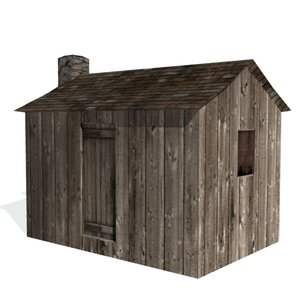 3d model of historical shack farms buildings