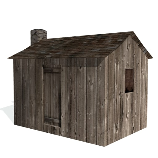 3d model of historical shack farms buildings