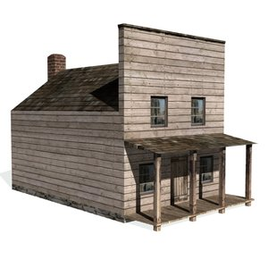 3ds historical shaded house old west