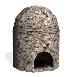 historical charcoal kiln 3d model