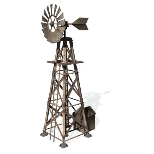 historical wind pump windmill 3d 3ds