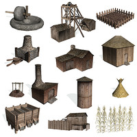 3d model historical buildings corn farms