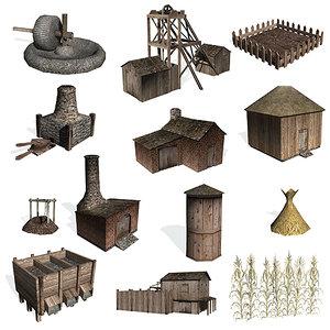 3d model historical buildings corn farms