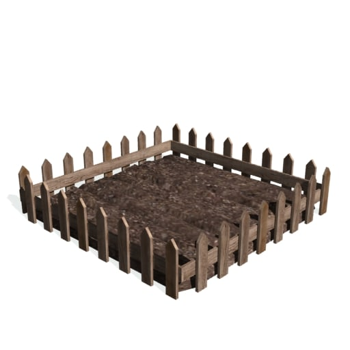 historical garden picket fence 3d model